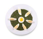 Spinaci con l'uovo bollito Fotografia Stock Libera da Diritti