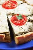 Spinaci e pomodoro di spirito del lorraine della quiche Fotografie Stock Libere da Diritti