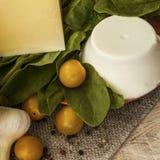 Spinaci, primo piano del parmigiano di ricotta Immagine Stock