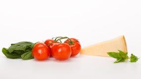 Spinaci rossi del formaggio dei pomodori Fotografia Stock
