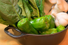 Spinacia and bell pepper. Fresh vegetable at the kitchen Stock Image