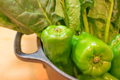 Spinacia and bell pepper. Fresh vegetable at the kitchen Stock Images