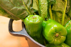 Spinacia and bell pepper. Fresh vegetable at the kitchen Royalty Free Stock Photo