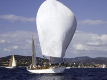 Spinaker. Classic saiing yacht at Nioularge with spinaker Royalty Free Stock Images