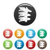 Spinal column discs icons set color vector illustration