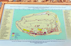 SPINALONGA, ΕΛΛΑΔΑ - 31 ΙΟΥΛΊΟΥ 2012: Το σχεδιάγραμμα των κτηρίων Στοκ φωτογραφίες με δικαίωμα ελεύθερης χρήσης