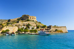Spinalonga, Crete. Historical site of Spinalonga island on a sunny spring day, Crete, Greece Royalty Free Stock Image