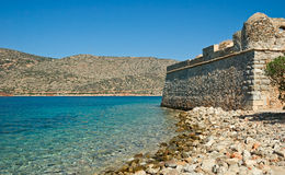 Spinalonga Fortress. View on Spinalonga Fortress and turquoise bay, Crete, Greece Stock Photography