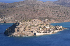 Spinalonga Island, Crete. Aerial view of the deserted island of Spinalonga, a former leper colony Royalty Free Stock Images