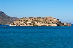 Spinalonga island. Crete, Greece. Venetian fort and former leper colony on Spinalonga Island, Crete, Greece Royalty Free Stock Images