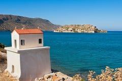 Spinalonga island. Crete, Greece. Venetian fort and former leper colony on Spinalonga Island. In left corner - Proskynetarion. Crete, Greece Stock Image