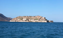 Spinalonga island(Crete,Greece). Spinalonga is a small island near Elounda in East Crete. Spinalonga  is also known as the Leper Island, as that is where lepers Stock Photo