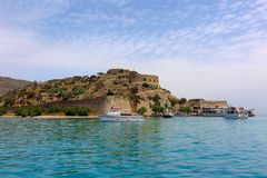 Spinalonga Island, Crete, Greece viewed from sea Stock Photos