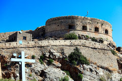 Spinalonga Island with Medieval Fortress, Crete Stock Photography