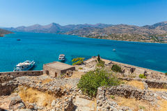 Spinalonga Island with Medieval Fortress, Crete Stock Image