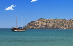 Spinalonga isle at Crete , Greece Royalty Free Stock Photos