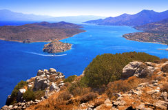 Spinalonga. Mirabello Bay. The island of Spinalonga (official name: Kalidon) is located at the eastern section of Crete, in Lasithi prefecture, near the town of Stock Photography