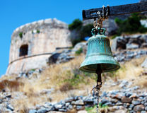 Spinalongaeiland met Middeleeuwse Vesting, Kreta stock foto's