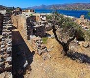 Spinalongaeiland met Middeleeuwse Vesting, Kreta royalty-vrije stock afbeeldingen