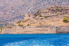 Spinalongaeiland met Middeleeuwse Vesting, Kreta royalty-vrije stock afbeelding