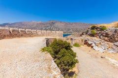 Spinalongaeiland met Middeleeuwse Vesting, Kreta royalty-vrije stock fotografie