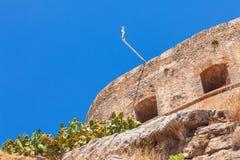 Spinalongaeiland met Middeleeuwse Vesting, Kreta royalty-vrije stock foto's