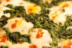 Spinat mit dem Ei, gebacken im Ofen stockbilder