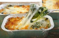 Spinat mit Käse im Aluminiumfoliebehälter Lizenzfreie Stockbilder