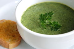 Spinach soup Stock Photo