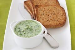 Spinatbad mit Toast Stockbild