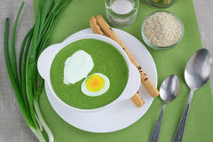 Spinats-Sahnesuppe Stockfoto
