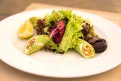 Spinatskrepps mit Lachs- und Salatmischung Stockbild