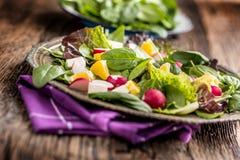 Spinaziesalade Verse spinaziesalade met fruit en groente stock fotografie