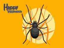 Spinbeeldverhaal vectorhalloween op achtergrond Royalty-vrije Stock Afbeeldingen