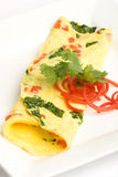 Spinch and pepper omelet Stock Photography
