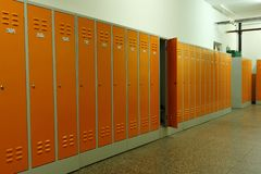 Lockers in a school stock photography