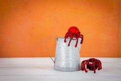 Spindel för begrepp för allhelgonaafton svart och röd, med metallkrukan Fotografering för Bildbyråer