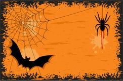 spindel för slagträhalloween natt Royaltyfri Foto