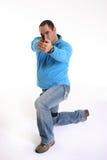 Spindel mit Pistole stockfoto