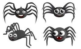 Spindelsymbolsuppsättning, tecknad filmstil stock illustrationer