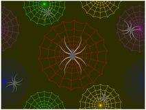 Spindlarna som klättrar på de färgrika spindelnäten i natten stock illustrationer