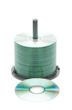 Spindle of cd disks isolated Royalty Free Stock Photography