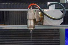 Spindle of CNC milling for wood royalty free stock photo