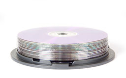Spindle of discs stock photo
