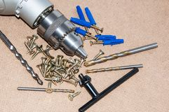 Spindle electric drills Stock Images