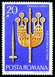 Spindle and Handle, Transylvania, Wood Carvings serie, circa 1978. MOSCOW, RUSSIA - FEBRUARY 10, 2019: A stamp printed in Romania shows Spindle and Handle royalty free stock images