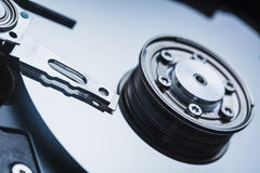 Spindle and plate open hard disk drive. Macro shot. With selective focus Stock Images