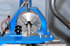 Spindle of turning lathe and metal detail. Royalty Free Stock Photos