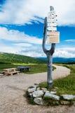 SPINDLERUV MLYN, TSCHECHISCHE REPUBLIK - 29. JULI 2016: Das Holzschild Lizenzfreie Stockfotos