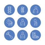 Spine, backbone line icons. Orthopedics clinic, medical rehab, back trauma, broken bone, posture correction scoliosis. Health care hospital circle signs, logo royalty free illustration